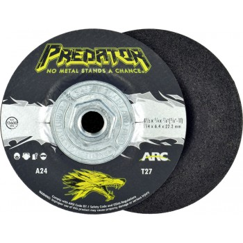 "4-1/2"" x 1/4"" x 5/8""-11 T27 - Depressed Center Grinding Wheel, A24T"